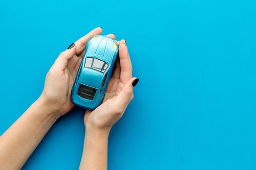 Car in someones hands